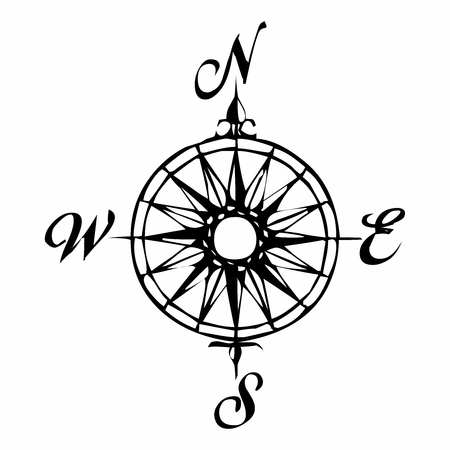 Vector Vintage Monochrome Compass Symbol, isolated on white background