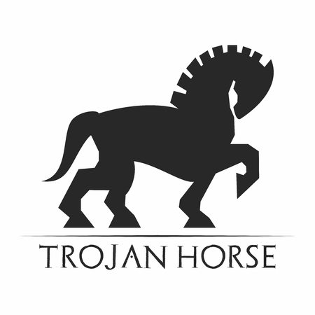 hellenistic: Vector Retro Artistic Monochrome Trojan Horse, isolated on white background