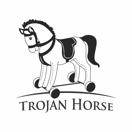 cavallo di troia: Vettore Retro artistica in bianco e nero cavallo di Troia, isolato su sfondo bianco Vettoriali