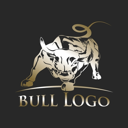 charging bull: Vector Charging Bull Silhouette Illustration Template