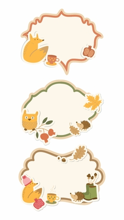 decal: Vector Vintage Pastel Colors Decal Stickers Set of Cute Happy Cartoon Animal and Nature Signboard