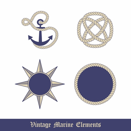 docking: Vector Vintage Marine Elements Graphic Collection, Anchor, Knot, Rope and Compass