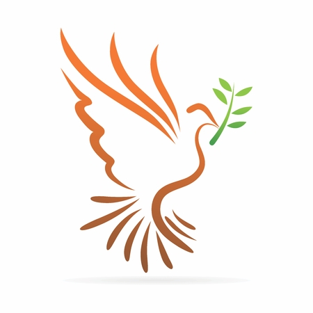 Vector Dove Carrying Green Olive Branch Illustration, isolated on white background