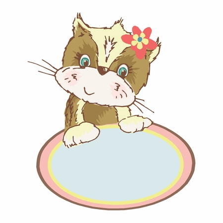 Vector Vintage Kleurrijk Kitten Prikbord, geïsoleerd op een witte achtergrond