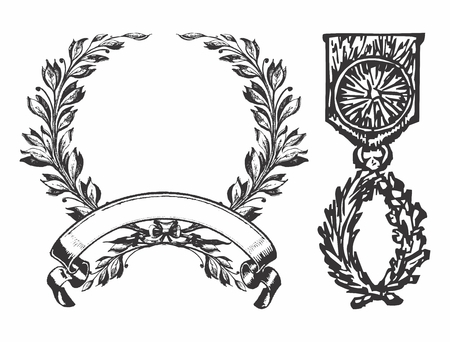 Vector Vintage Monochrome Pixelated Military Medal of Hornor and Fame Decor isolated on white background Illustration