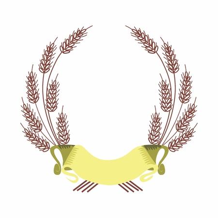 cebada: Frontera del vector de la cebada y la fama de la cinta, aislados en fondo blanco