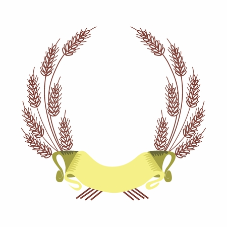fame: Vector Border of Barley Fame and Ribbon, isolated on white background Illustration