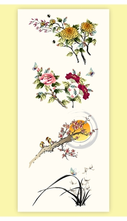 flores chinas: Agua tradicional oriental japonesa china y pintura de la tinta de la naturaleza, árboles, plantas y flores