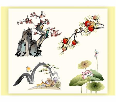 伝統的なオリエンタル中国日本の水と自然、木、植物および花の水墨画  イラスト・ベクター素材