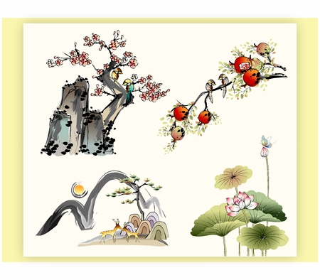 Traditional Oriental Chinese Japanese Water and Ink Painting of Nature, Trees, Plants and Flowers