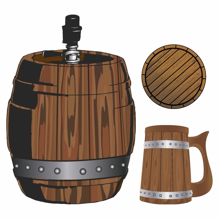 tavern: Traditional Brewery Wooden Equipments, Tavern, Night pub Decor Collection, Barrel, Keg, Mug