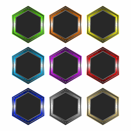 hexagon: 3D Colorful Gradient Metallic Reflective Hexagon Shape Web Button, Digital , Seal, Emblem template collection isolated on white background