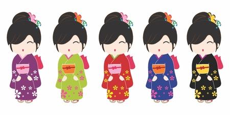 japanese kimono: Friendly and Welcoming Cartoon Japanese Kimono Costume Women Portrait, isolated on white background