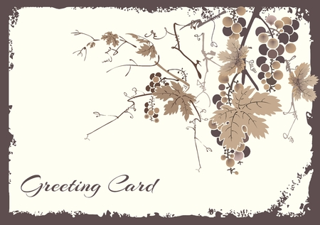harvesting: Vintage Vineyard Associated Autumn Greeting Card Template Illustration