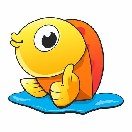 Cartoon Cheerful Goldfish Thumb up Character isolated on white background