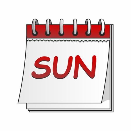 日曜日は、白い背景で隔離のベクトル漫画カレンダー