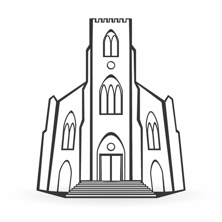 Vector Monochrome outline Sketch of Conceptual Cathedral Front Entrance