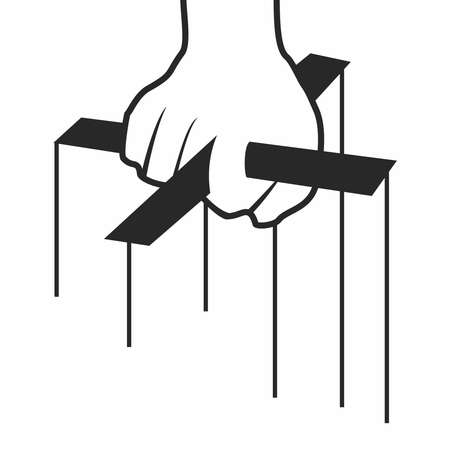 depravity: Vector Monochrome Conceptual Cartoon Hand of Marionette Puppeteer isolated on white background