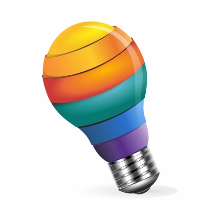 edison: Vector 3D Rendering Creative Conceptual Rainbow Color Light Bulb Idea Illustration isolated on white background