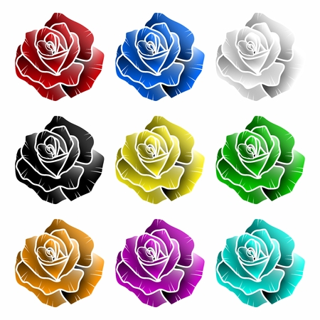 blue roses: Vector Collection of Colorful Rose Graphic Elements, isolated on white background