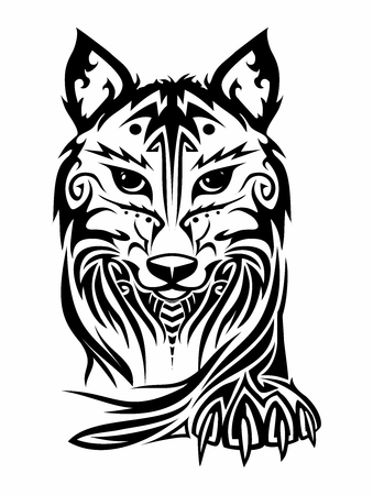 Vector Elegant Wolf Face and Paw Tribal Tattoo isolated on white background Illustration