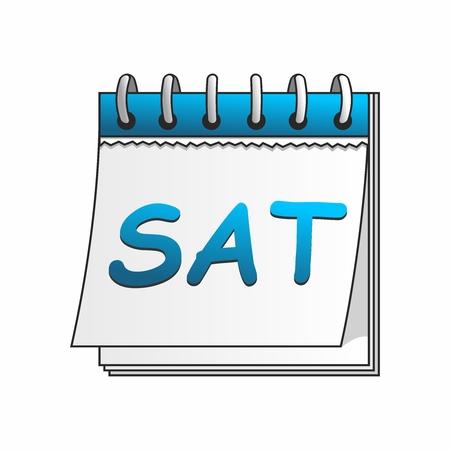 cartoon calendar: Vector Cartoon Daily Calendar of Saturday isolated on white background