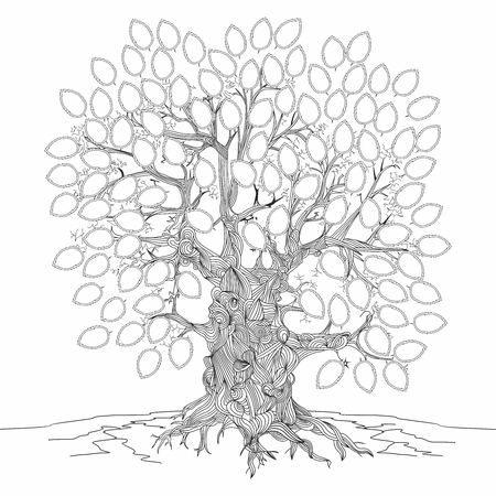 extremely: Vector monochrome outline illustration of extremely old and sacred tree background Illustration