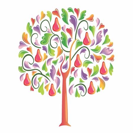 kiddish: Vector Childish Creative Cartoon Colorful Tree, isolated on white background