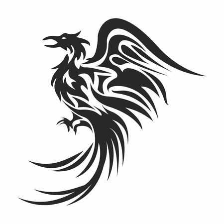 Vector Artistic Monochrome Phoenix Mascot, Tattoo Illustration, isolated on white background Illustration