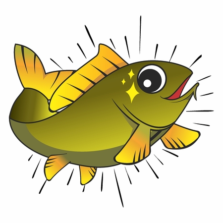 Vector Smart Happy Cartoon Fish Jumping out of Water Isolated on white background Vettoriali