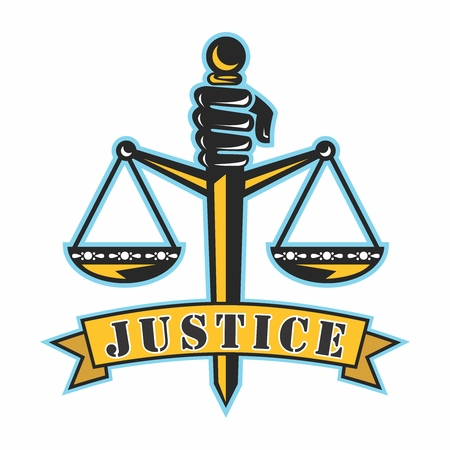 Vector Cartoon Illustration of Fist, Sword and Scales of Justice