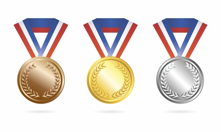 silver medal: Vector Sport Champion Trophies Collection of Gold, Silver and Bronze Medal isolated on white background