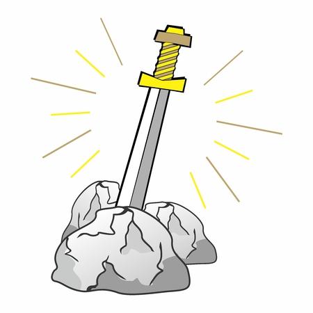 excalibur: Vector Divine Legendary Sword of Excalibur, Sword in Stone Theme of King Arthur Cartoon Illustration