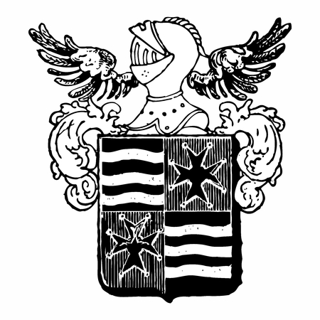 tyranny: Vector Vintage Pixelated Monochrome Royal emblem of Plate Mail Knight Helmet and Shield Crest Illustration