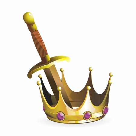 armory: Vector Vintage Medieval King Golden Sword and Crown Illustration isolated on white background Illustration