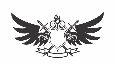 Vector Monochrome Modern Cartoon Shield Emblem with Wings, Cross Sword and Ribbon Illustration