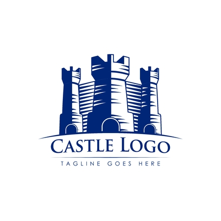 fortified: Vector Logo Template of Vintage Fortified Medieval Stone Castle
