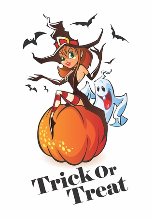 Vector Halloween Cartoon Lady Witch sitting on pumpkin, with ghost and bats in the background Illustration
