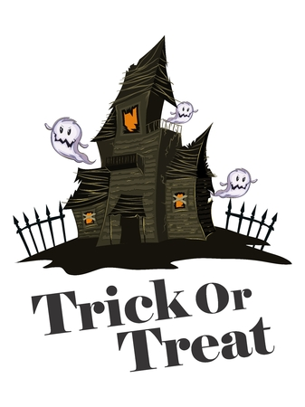 retro party: Vector Halloween Haunted Maison Illustration, isolated on white background