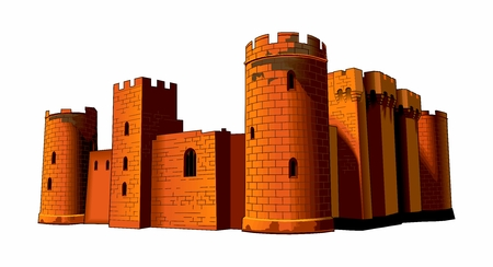 Vector Template of Vintage Fortified Medieval Stone Castle