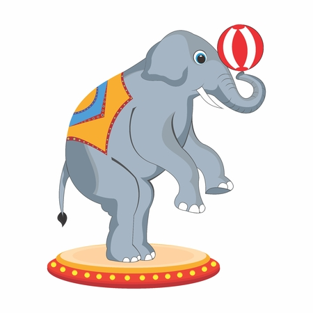 taming: Vector Adorable Cartoon Circus Elephant Back Legs Standing Performance with Beach Ball on its Trunk Illustration
