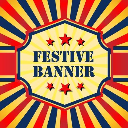 Vector Square Retro Festive Lightburst, Sunburst Banner Background of Circus Theme Color Style