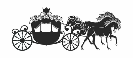 old cars: Vector Luxury Horse Carriage of Fantasy Princess Outline Silhouette isolated on white background