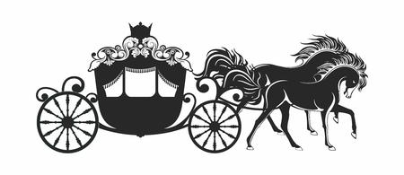 Wektor Luksusowy Jazda Przewóz Fantasy księżniczka Drzewo sylwetka na białym tle Ilustracje wektorowe