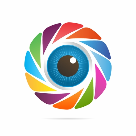 gazing: Vector 3D Realistic Eyeballs Rendering Surrounded by Colorful Camera Shutter isolated on white background Illustration