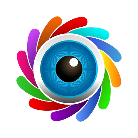 retina: Vector 3D Realistic Eyeballs Rendering Surrounded by Colorful Camera Shutter isolated on white background Illustration