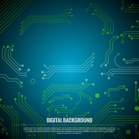 Vector Conceptual Computer Electronic Digital Motherboard Technology Circuit Connection Illustration