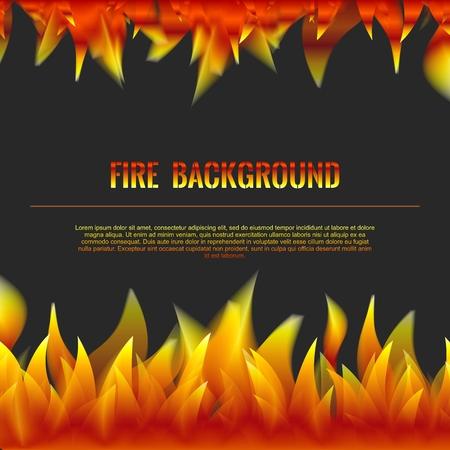 flames background: Vector Realistic Fire Flames Poster Banner Black Color Background, Red Orange Flame Illustration