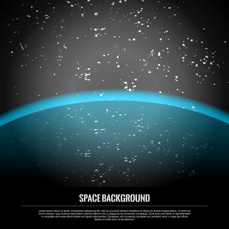 approaching: Vector Realistic Conceptual Space Travel Scene Background, approaching Blue Planet Earth in Starry Galaxy
