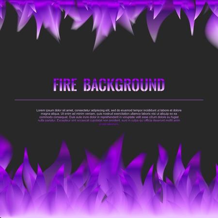 flames background: Vector Realistic Fire Flames Poster Banner Black Color Background, Purple Violet Flame Illustration